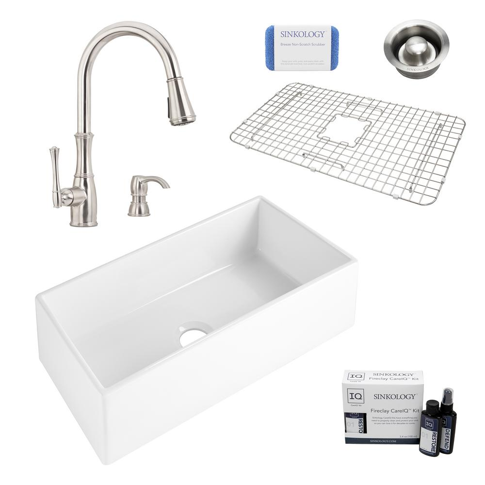 SINKOLOGY Harper All-in-One Farmhouse Apron Front Fireclay 36 in. Single Bowl Kitchen Sink with Pfister Wheaton Faucet and Drain