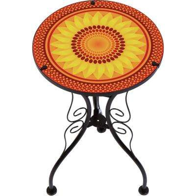 22 in. Sunflower Design Glass and Metal Side Table