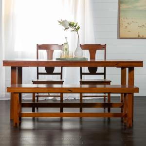 Walker Edison Furniture Company Rustic Wood Dining Chairs Set Of 2 Dark Oak Hdhh2do The Home Depot