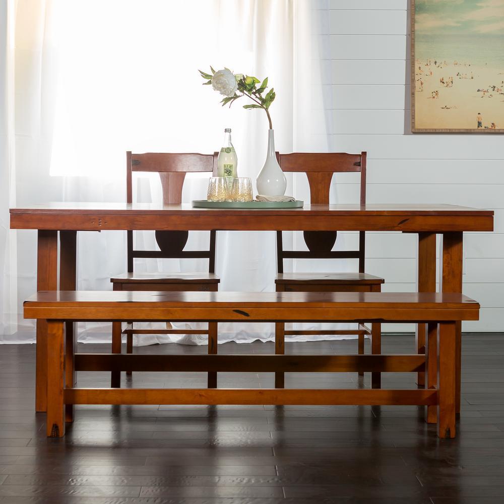 Walker Edison Furniture Company 6 Piece Rustic Wood Dining Set Distressed Dark Oak Hd60h2do The Home Depot