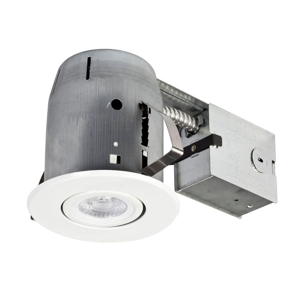 globe electric 5 in white led ic rated swivel spotlight recessed