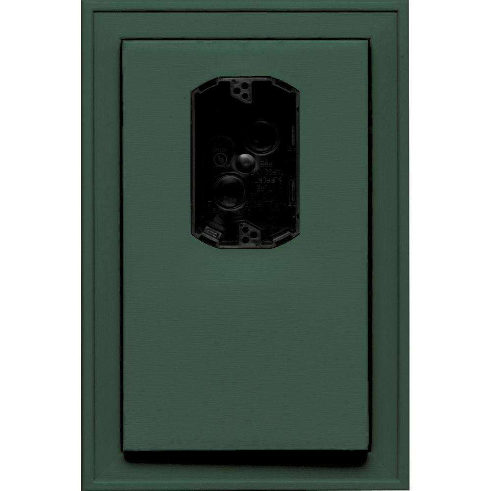Builders Edge 8.125 in. x 12 in. #028 Forest Green Jumbo Electrical Mounting Block Offset