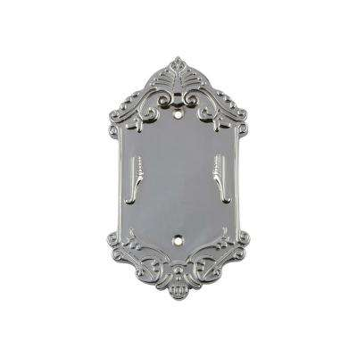 Victorian Switch Plate with Blank Cover in Bright Chrome