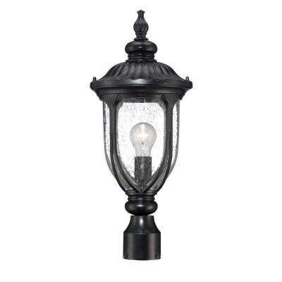 Laurens Collection 1-Light Matte Black Outdoor Post-Mount Light Fixture