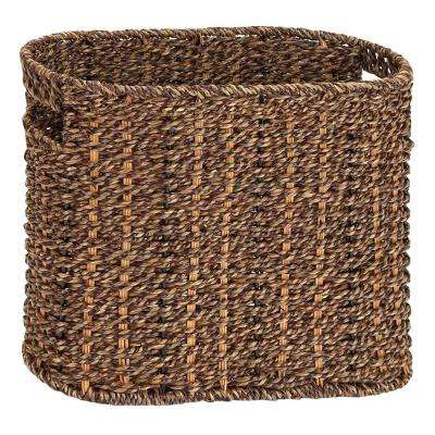 Handcrafted Sea Grass Brown Woven Magazine Rack
