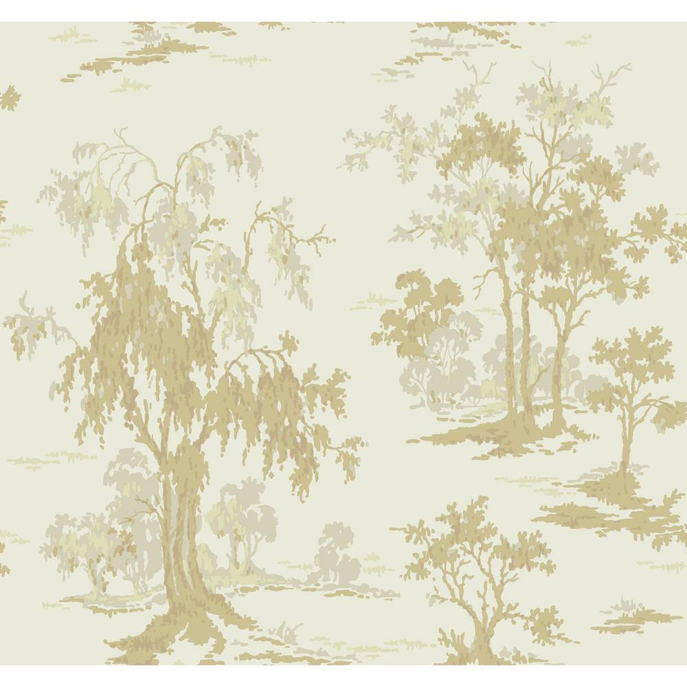 Gold Leaf Metallic Scenic Wallpaper