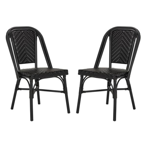 Safavieh Daria Black Stackable Aluminum Wicker Outdoor Dining Chair 2 Pack Pat4013a Set2 The Home Depot