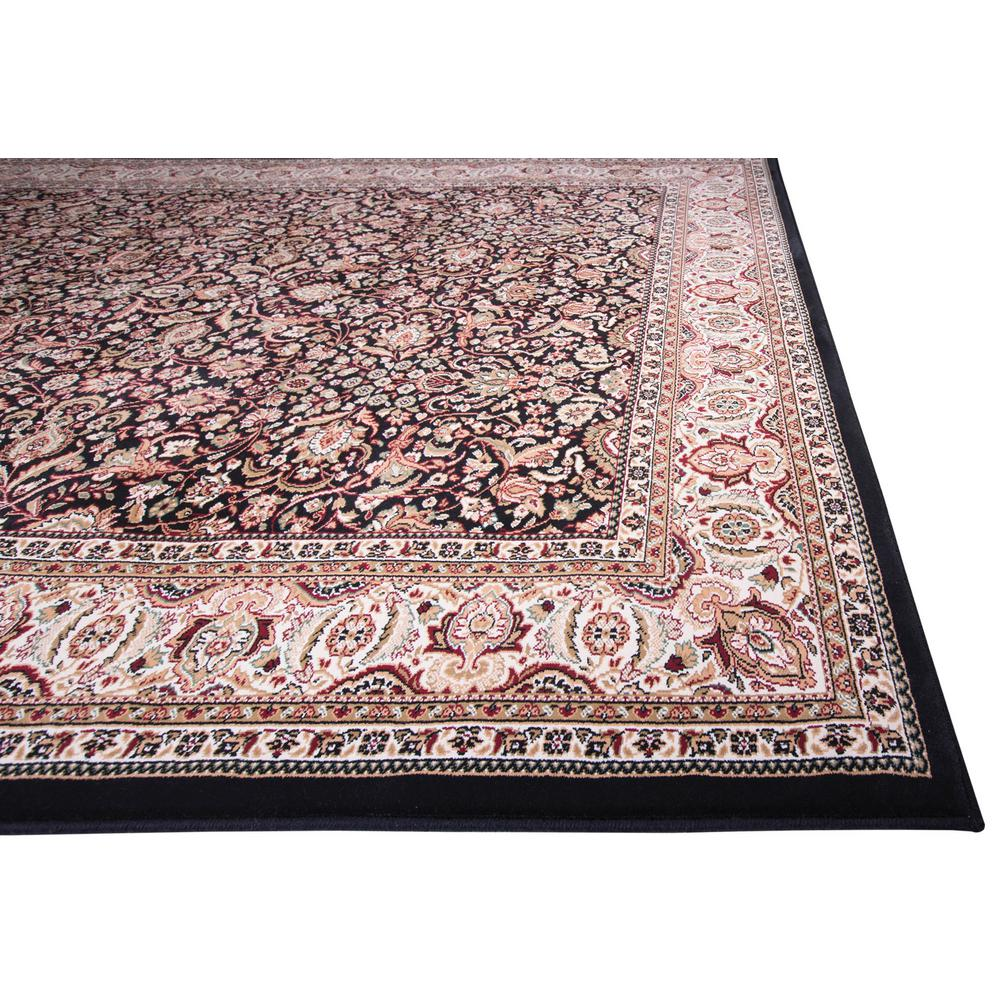 Home Dynamix Super Kashan Black 2 ft. 7 in. x Your Choice Length Finished Roll Runner