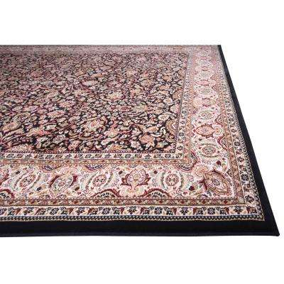 Super Kashan Black 2 ft. 7 in. x Your Choice Length Finished Roll Runner