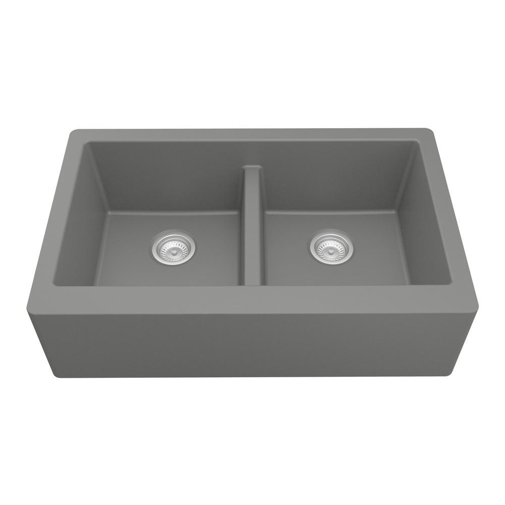 karran farmhouse apron front quartz composite 34 in double bowl rh homedepot com quartz stone composite kitchen sinks