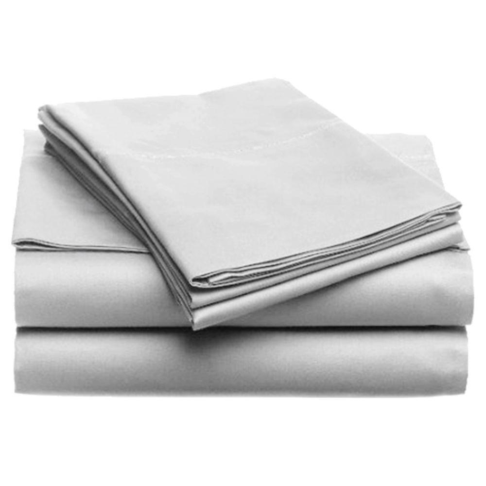Jill Morgan Fashion Solid Silver Microfiber Queen Sheet Set (4-Piece)