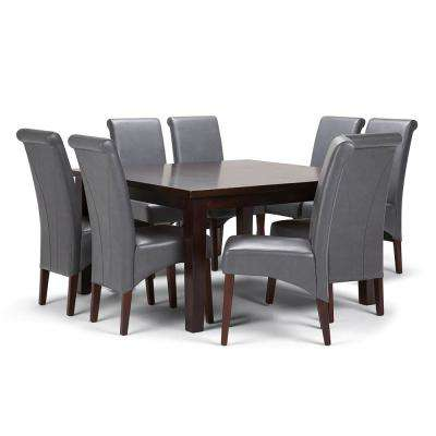 Avalon 9 Piece Dining Set With 6 Upholstered Chairs In Stone Grey Faux Leather
