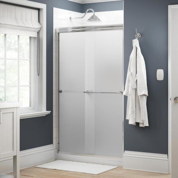Everly 48 in. x 70 in. Traditional Semi-Frameless Sliding Shower Door in Chrome and 1/4 in. (6mm) Niebla Glass
