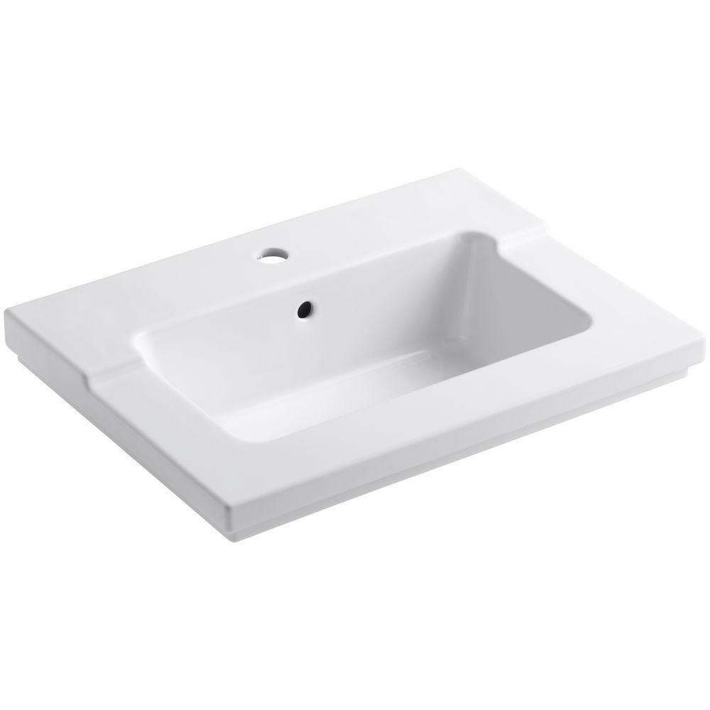 Kohler Tresham 25 7 16 In Vitreous China Single Basin Vanity Top In White With White Basin K 2979 1 0 The Home Depot