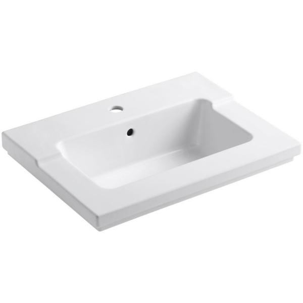 Kohler Tresham 25 7 16 In Vitreous China Single Basin Vanity Top In White With White Basin K 2979 1 0 The Home Depot