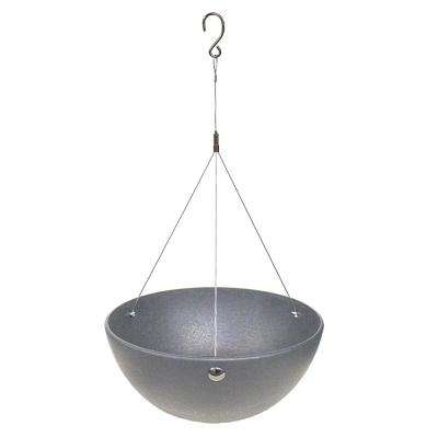 Allegria 18 in. W x 8.5 in. H Round Pewter Rubber Hanging Self-Watering Planter