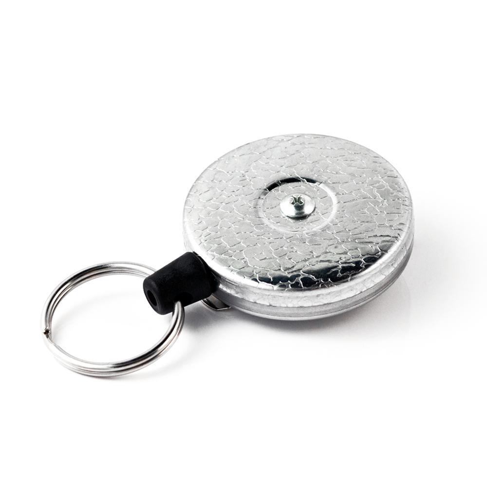 KEY-BAK Original XD Retractable Keychain with 28 in  Retractable Cord,  Chrome Front, Steel Belt Clip, 20 oz  Retraction