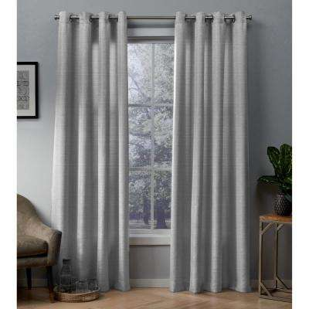 Whitby 54 in. W x 96 in. L Metallic Slub Grommet Top Curtain Panel in Silver (2 Panels)