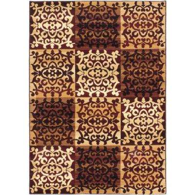 Crown Burgundy, Ivory 4 ft. x 5 ft. Area Rug
