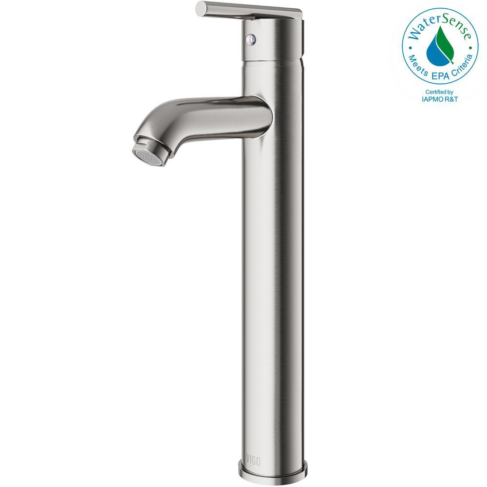 Single Hole Single-Handle Low-Arc Vessel Bathroom Faucet in Brushed Nickel