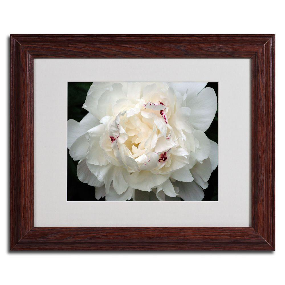 null 16 in. x 20 in. Perfect Peony Dark Wooden Framed Matted Art