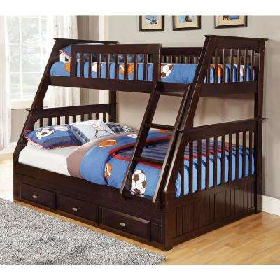 Espresso Twin over Full Solid Pine Bunkbed with 3 Drawers Underneath