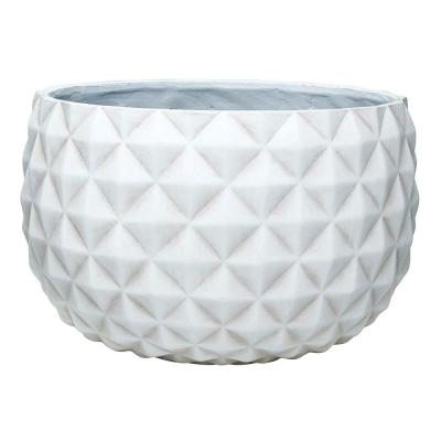 Pineapple 12 in. x 7.5 in. Weathered White Resin Composite Bowl Planter