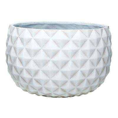 Pineapple 12 in. Dia Weathered White Composite Bowl
