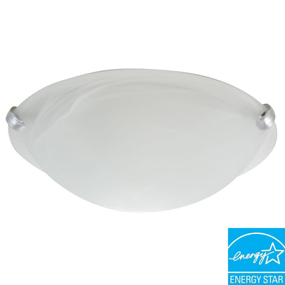 Efficient Lighting Classical White Flush Mount with Silver Prong Clips and Bulbs-DISCONTINUED