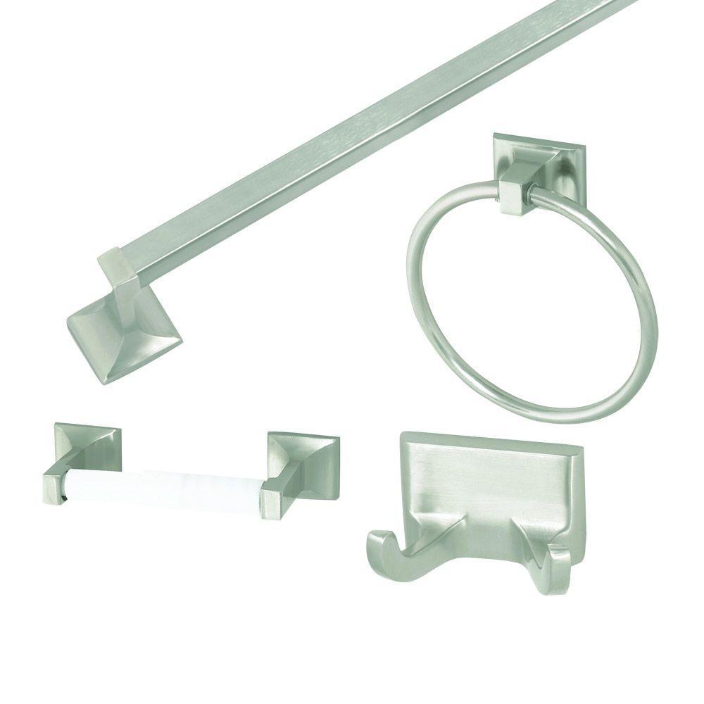 Design House Millbridge 4 Piece Bathroom Accessory Kit In Satin Nickel 534644 The Home Depot