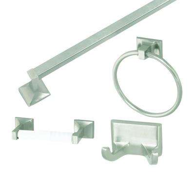 Millbridge 4-Piece Bathroom Accessory Kit in Satin Nickel