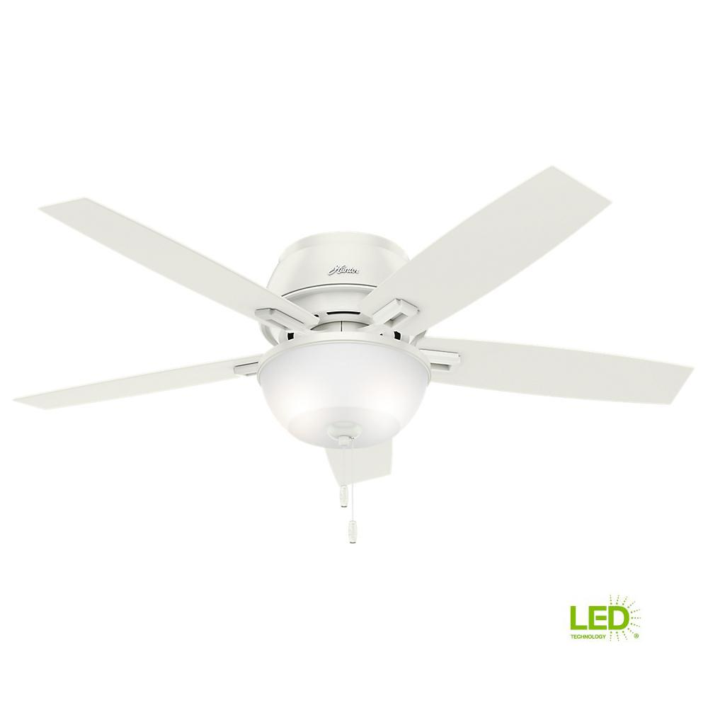 LED Indoor Low Profile Fresh White Bowl Ceiling Fan