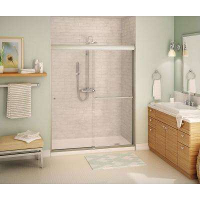 Aura SC 60 in. x 71 in. Semi-Frameless Sliding Shower Door in Brushed Nickel