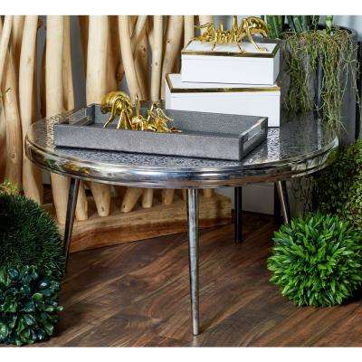 Silver Round Stencil-Designed Coffee Table with Black Accents