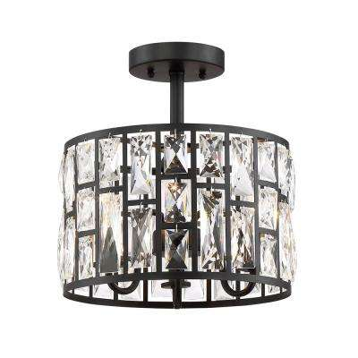 Kristella 12.5 in. 3-Light Matte Black Semi Flush Mount Light with Clear Crystal Shade