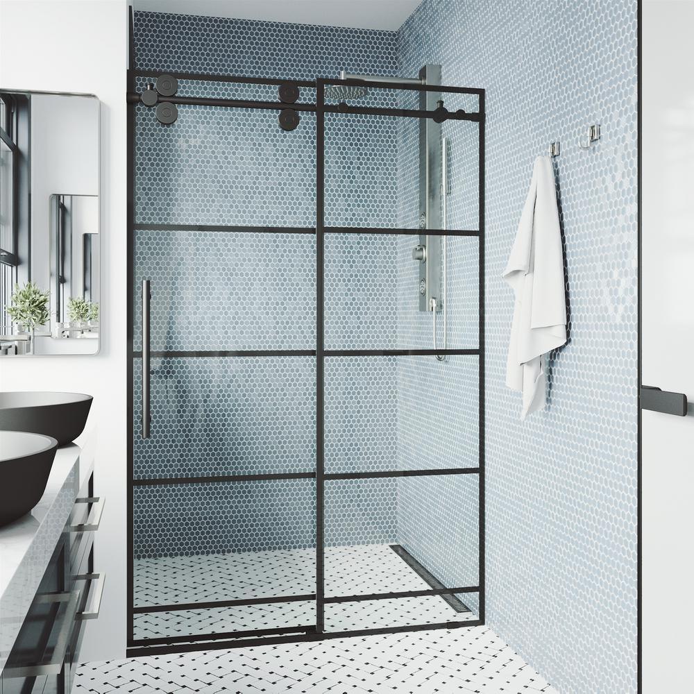 Elan 68 x 74 Frameless Sliding Shower Door in Matte Black with Handle
