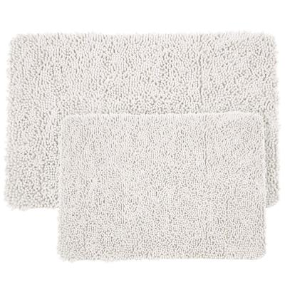 Shag White 21 in. x 32 in. Memory Foam 2-Piece Bath Mat Set