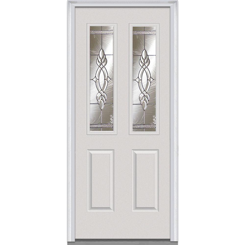 MMI Door 32 in. x 80 in. Brentwood Left-Hand 2-1/2 Lite 2-Panel Classic Primed Fiberglass Smooth Prehung Front Door