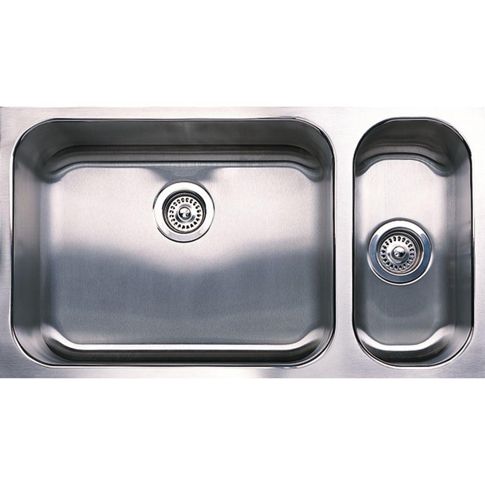 Spex Plus Undermount Stainless Steel 32 in. 1-1/2 Double-Bowl Kitchen Sink