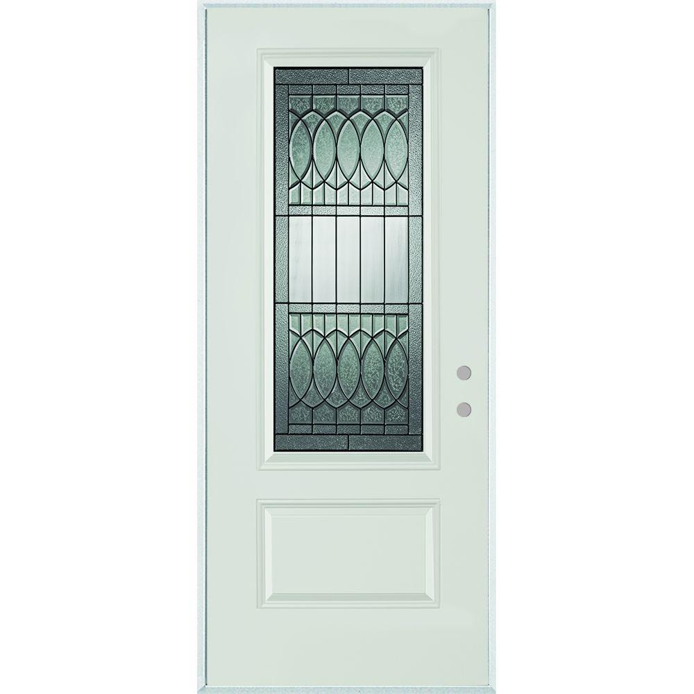Stanley Doors 32 in. x 80 in. Nightingale Patina 3/4 Lite 1-Panel Painted White Left-Hand Inswing Steel Prehung Front Door
