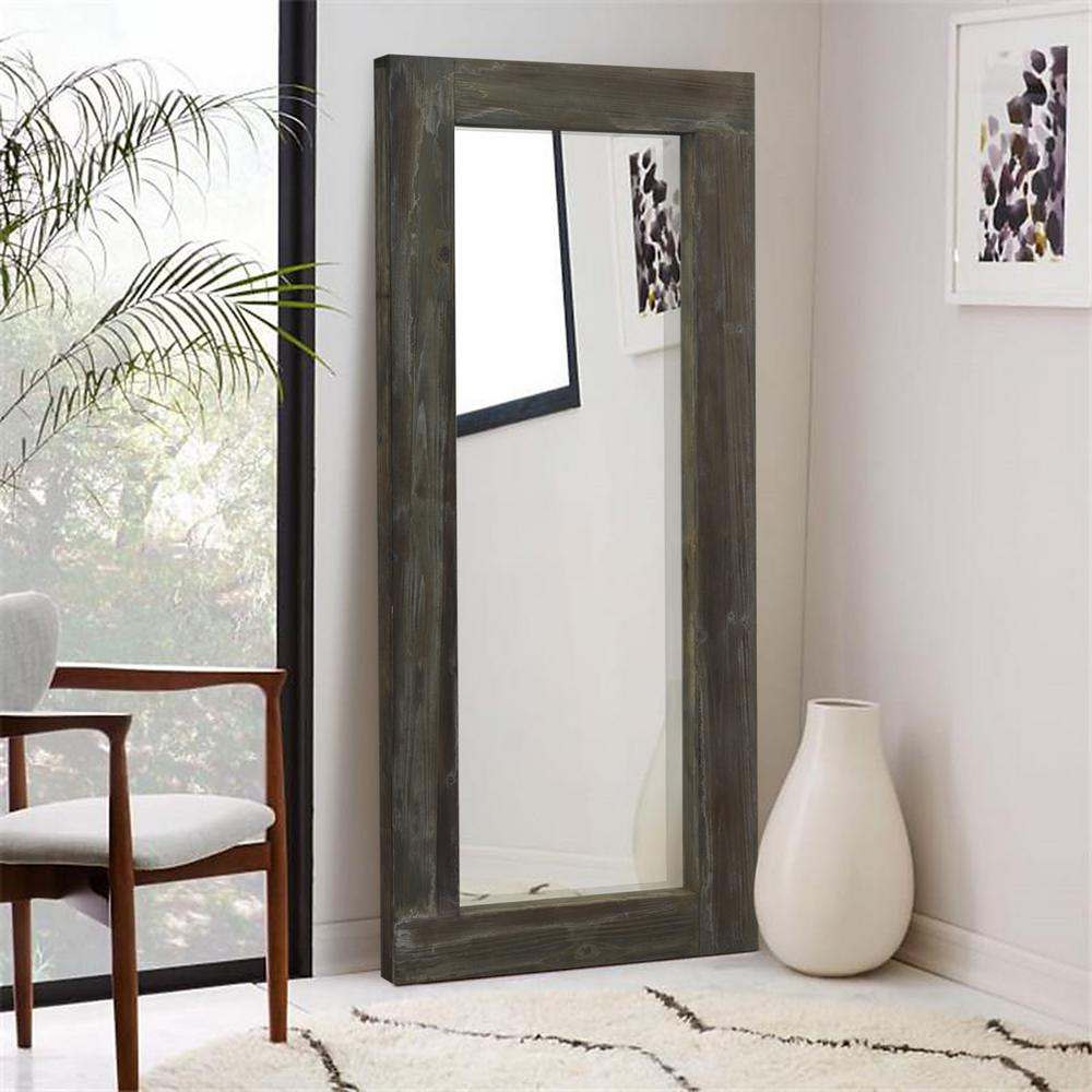AAZZKANG Wood Mirror Rustic Rectangle Farmhouse Hanging Mirror Bedroom Bathroom Wooden Frame Mirrors for Wall Brown