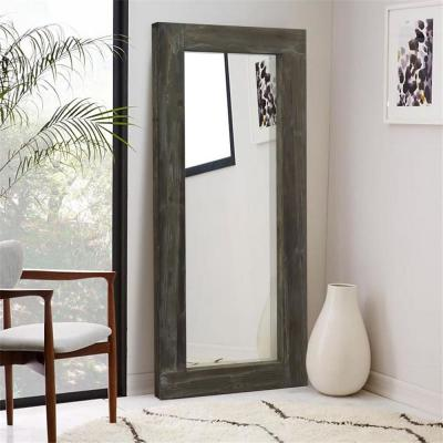 Large Brown Wood Antiqued Rustic Mirror (58 in. H X 24 in. W)