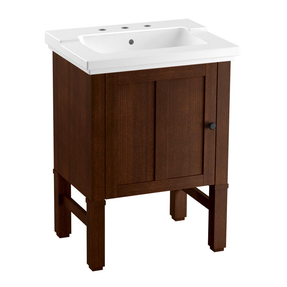 KOHLER Chambly 24 in. W Vanity in Woodland with Ceramic Vanity Top in White with White Basin