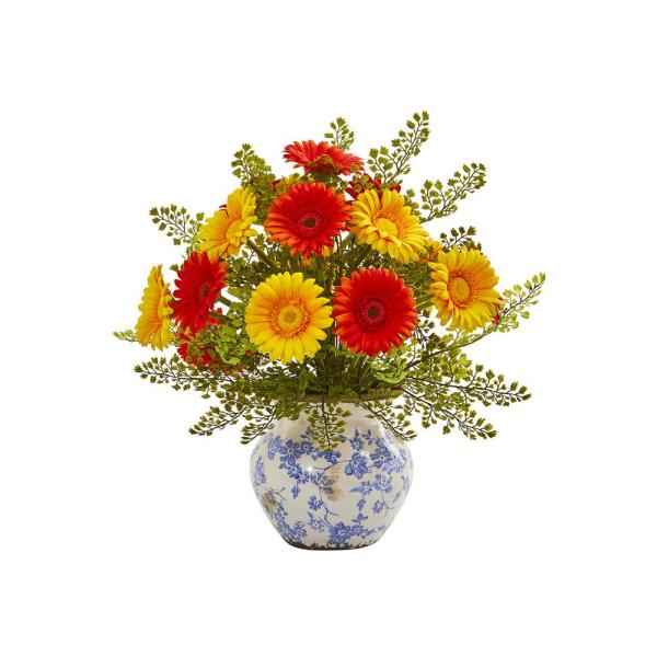 Nearly Natural 23 in. H White Large Hydrangea with Vase ...