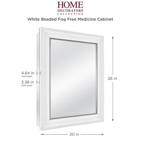 Home Decorators Collection 20 In X 26 In Fog Free Recessed Or Surface Mount Medicine Cabinet In White 83017 The Home Depot