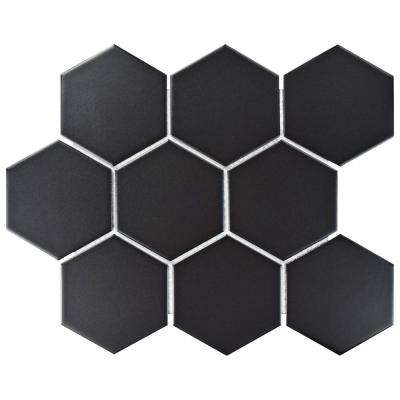 Metro Super Hex Matte Black 10 in. x 11-1/2 in. x 6 mm Porcelain Mosaic Tile (8.17 sq. ft. / case)