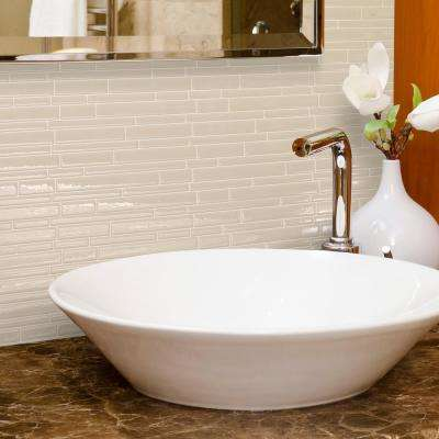 Milano Crema Approximately 3 in. W x 3 in. H Beige Decorative Mosaic Wall Tile Backsplash Sample