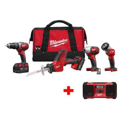M18 18-Volt Lithium-Ion Cordless Hammer Drill/HACKZALL/Impact Driver/Light Combo Kit (4-Tool) W/ Free M18 Radio