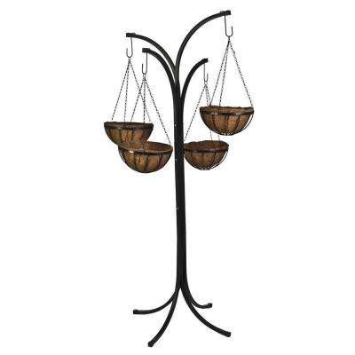 12 in. Metal Hanging Basket with Tree Stand (4-Pack)