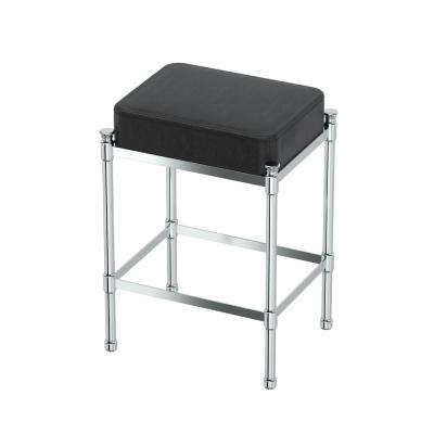 Rectangle Black Vanity Stool in Chrome